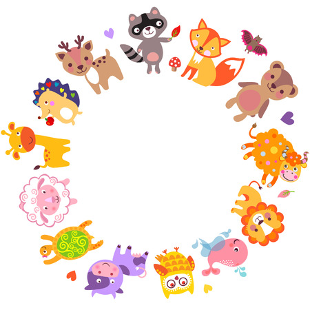 Cute animals walking around globe, Save animals emblem, animal planet, animals world.のイラスト素材