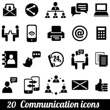 Illustration for Set of 20 communication icons. Vector illustration - Royalty Free Image