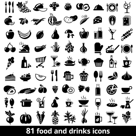 Ilustración de Set of food and drinks icons. Vector illustration. - Imagen libre de derechos