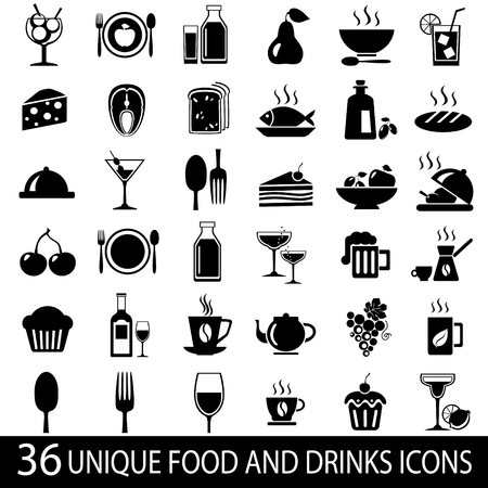 Set of 36 food and drink icons. Vector illustration