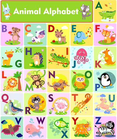 Photo pour A vector illustration of cute animal alphabet from A to Z - image libre de droit