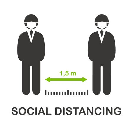 Ilustración de Social distancing vector icon, keep distance 1,5 m in public society people to protect from COVID-19 coronavirus outbreak spreading concept, People in medical mask keep distance away in the meeting. - Imagen libre de derechos
