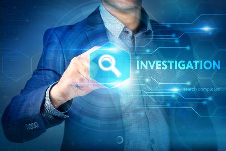 Photo pour Business, internet, technology concept.Businessman chooses Investigation button on a touch screen interface. - image libre de droit
