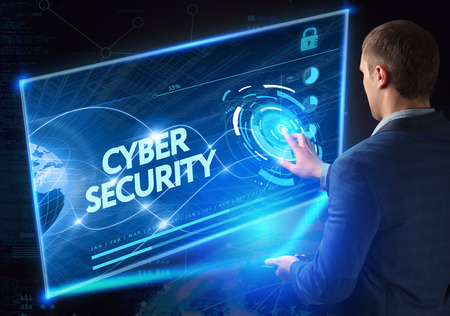 Photo pour Business, Technology, Internet and network concept. Technology future. Young businessman, working on the smartphone of the future, clicks on the virtual display button: Cyber Security - image libre de droit