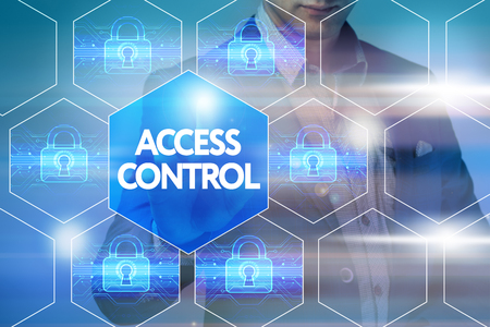 Photo pour Business, technology, internet and networking concept. Businessman presses a button on the virtual screen: Access control - image libre de droit