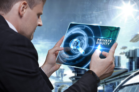 Photo pour Business, Technology, Internet and network concept. Businessman working on the tablet of the future, select on the virtual display: Private equity - image libre de droit