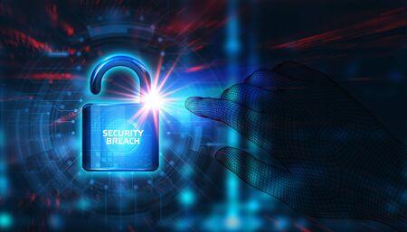 Foto de Cyber security data protection business technology privacy concept. Security breach - Imagen libre de derechos