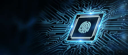 Photo for Fingerprint scan provides security. Business, technology, internet and networking concept. - Royalty Free Image