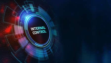 Photo pour button internal control on virtual screens. Business, Technology, Internet and network concept. - image libre de droit