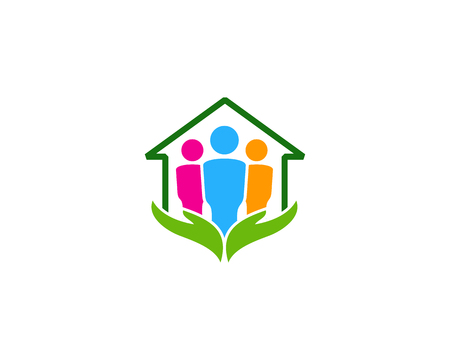 Illustration for Care Team Home Logo Icon Design - Royalty Free Image