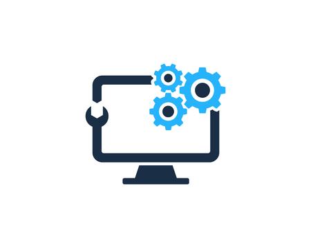 Illustration pour Repair Computer Icon Logo Design Element - image libre de droit
