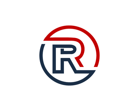 Letter R Circle Line Icon Logo Design Element