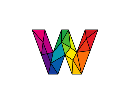 Colorful Letter W Low Poly Icon Logo Design Element