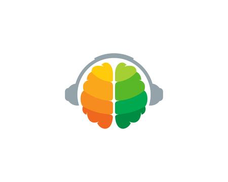 Headphone brain icon design.