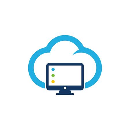 Illustration pour Computer Cloud Logo Icon Design - image libre de droit