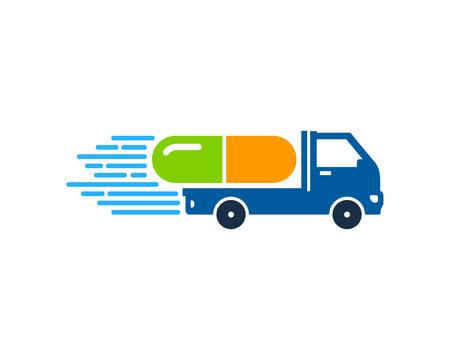 Illustration pour Medicine Delivery Logo Icon Design - image libre de droit