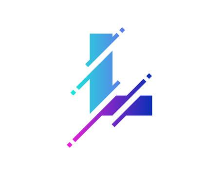 L Digital Letter Pixel Logo Icon Design