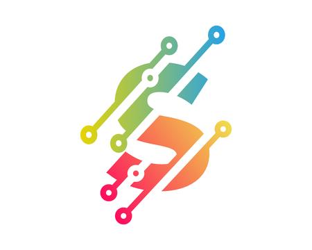 Photo pour S Digital Letter Technology Logo Icon Design - image libre de droit
