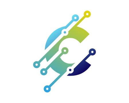 Illustration pour C Digital Letter Technology Logo Icon Design - image libre de droit