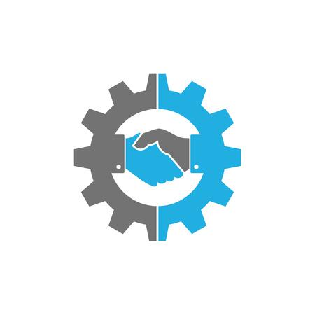 Illustration pour Handshake Gear Logo Icon Design - image libre de droit