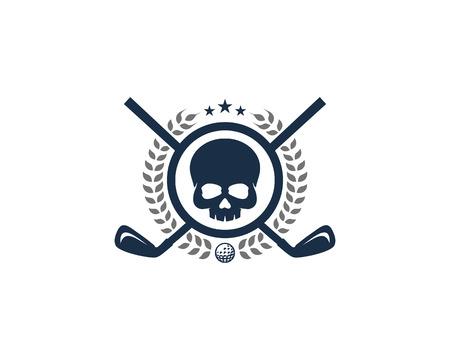 Illustration pour Skull Golf Icon Design - image libre de droit