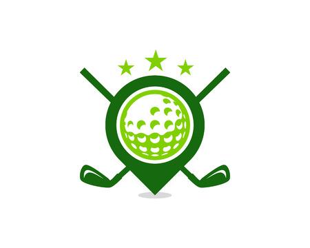 Illustration pour Point Golf Logo Icon Design - image libre de droit