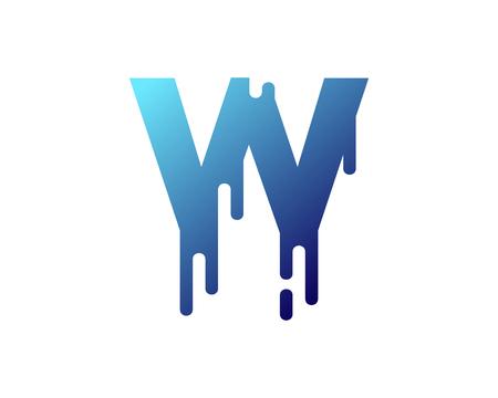 Ilustración de W Letter Paint Wet Logo Icon Design - Imagen libre de derechos