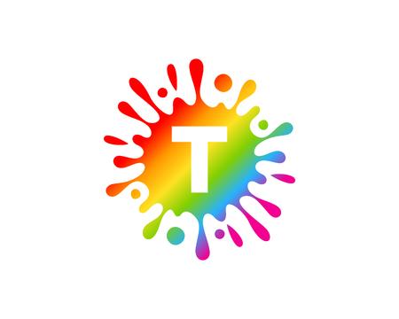 T Letter Splash Icon Design
