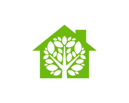 Ilustración de House Tree Logo Icon Design - Imagen libre de derechos