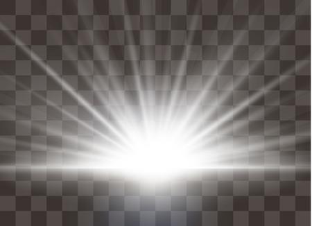 Illustration pour Sunrise, dawn. Vector transparent sunlight. Special lens flare light effect. - image libre de droit