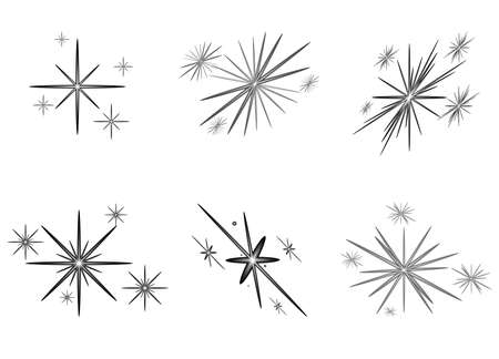 Illustration for Set of bright stars for Christmas, New Year. Vector illustration. - Royalty Free Image