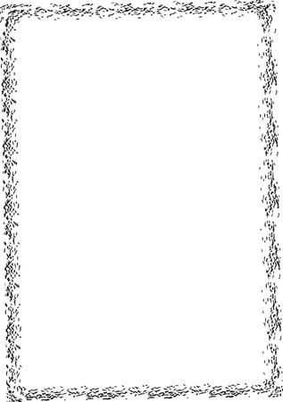 Illustration pour Set of black rectangle grunge frames. Creative square borders. Vector illustration. - image libre de droit
