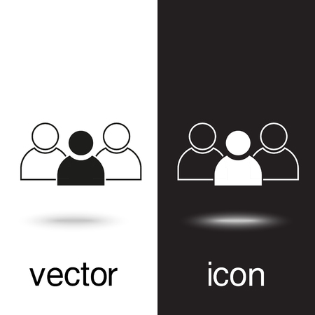 Illustration pour vector icon group of people on black and white background - image libre de droit