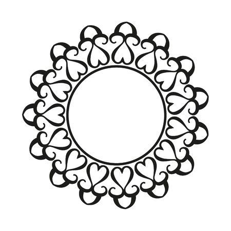 Round ornamental frame, vector illustration.