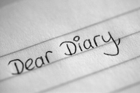 A black and white photograph of the beginning of a teenager's diary entry
