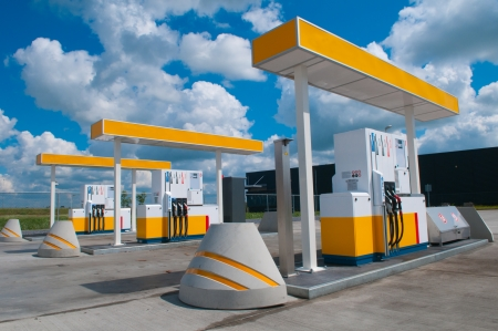 picture of a modern gas station for fueling gasoline