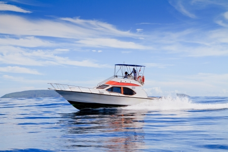 Motorboat, route on the Ocean