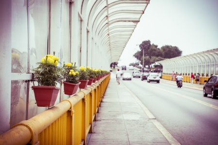 Miraflores Streets with hanging flowers, Lima