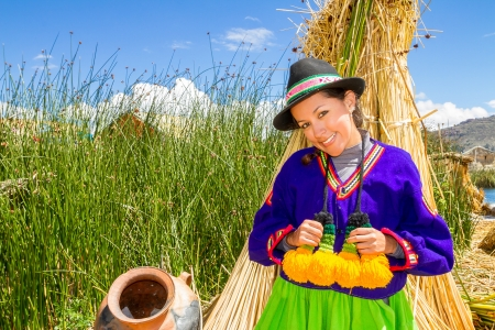 latin woman in national clothes  Peru  s  america