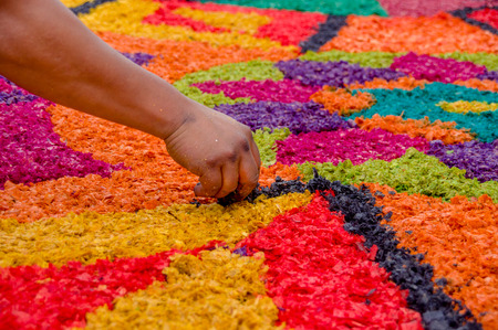 handmade easter carpets made from colored sawdust fruits and flowers in antigua guatemala