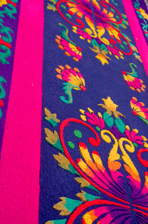 beautiful handmade easter carpets made from colored sawdust fruits and flowers in antigua guatemala