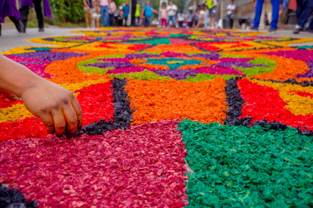 reigious handmade easter carpets made from colored sawdust fruits and flowers in antigua guatemala