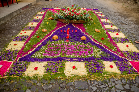 religious handmade easter carpets made from colored sawdust fruits and flowers in antigua guatemala