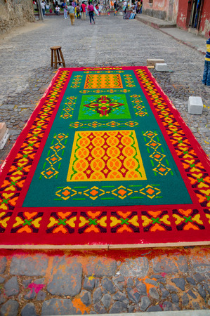detailed handmade easter carpets made from colored sawdust fruits and flowers in antigua guatemala