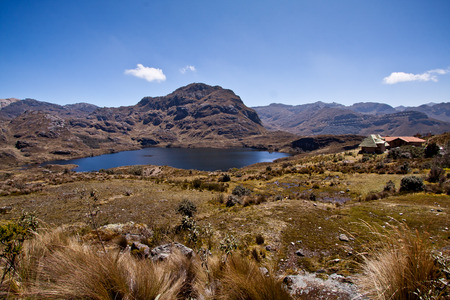 Lagoon landscape in Cajas National Park, Azuay, Ecuador, South America