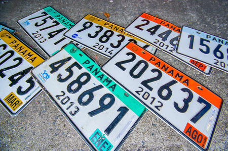 PANAMA, PANAMA - APRIL 15, 2015: Licence plates Souvenirs for sale in the Paza Francia in Pamama city