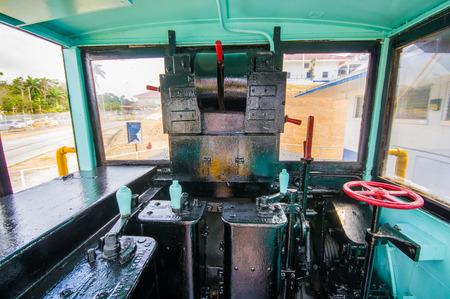 COLON, PANAMA - APRIL 15, 2015: Gatun Locks, Panama Canal. Interior of an old Canal Mule Train.