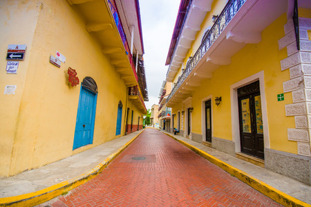 PANAMA, PANAMA - APRIL 16, 2015:  Street view of the recentry restaurated historic quarter of Panama City, known as Casco Viejo.