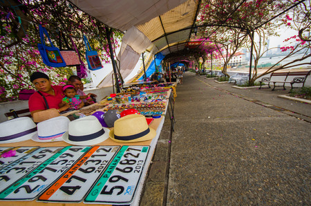 PANAMA, PANAMA - APRIL 15, 2015: Souvenirs for sale in the Paza Francia in Pamama city
