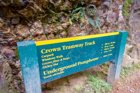 NORTH ISLAND, NEW ZEALAND- MAY 16, 2017: Informative sing of, carpark, windows walk, crown mine and dickey falt in Karangahake Gorge, in Peninsula in New Zealands North Island